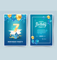 7th years birthday invitation double card vector image vector image