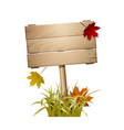 autumn wooden sign vector image vector image