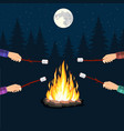 bonfire with marshmallow stone vector image vector image