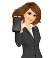 businesswoman displaying her smartphone vector image vector image