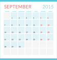 Calendar 2015 flat design template September Week vector image vector image