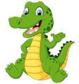 Cartoon funny crocodile waving hand vector image vector image