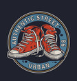 colorful college footwear round badge vector image vector image