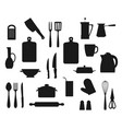 cooking pot spoon fork knives kitchen utensils vector image vector image
