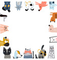 creative cats and dogs square frame with text vector image