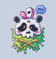 cute panda skull in a cap cartoon vector image
