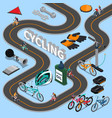 cycling isometric composition vector image vector image