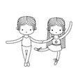 dotted shape couple practice ballet with vector image vector image