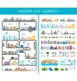 Elements of the modern city or village vector image vector image