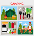 flat camping square concept vector image vector image