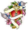 floral heart with bird tattoo vector image vector image