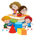 four kids on giant books vector image vector image