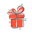 gift box icon in comic style present package vector image