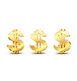 golden dollar symbol with two vertical lines vector image vector image