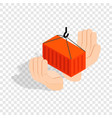 hands holding container isometric icon vector image