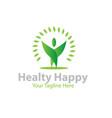 happy healthy logo designs vector image vector image