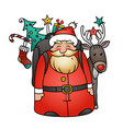 holiday with santa claus and reindeer vector image