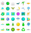 island icons set cartoon style vector image vector image