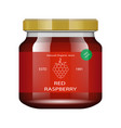 jam raspberries glass jar with jam and configure vector image