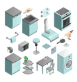 Kitchen Interior Isometric Icons Set vector image vector image