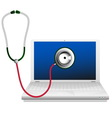 Laptop and stethoscope Computer repair concept vector image vector image