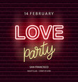 love party neon emblem vector image vector image