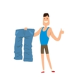 Man shows his weight loss by wearing an old jeans vector image