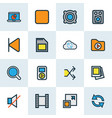 media icons colored line set with monitor enlarge vector image