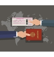 passport with boarding pass on world map vector image vector image