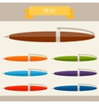 Pens colored templates for your design in flat vector image vector image