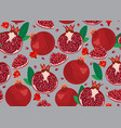 pomegranate fruits seamless pattern and piece on vector image vector image