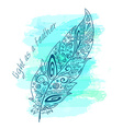 printable with zentangle feather on watercolor vector image vector image