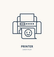 printer with printed paper flat line icon office vector image