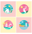 rabbits mid autumn festival set vector image