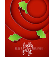 Red circles with christmas tree badges and Holly vector image vector image