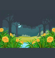 scene with flower field in forest at night vector image vector image