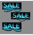 set of three sale text on floral swirl vector image vector image