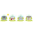 set small houses in flat line art style vector image