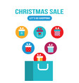 shopping bag with gift boxes flying out of it new vector image