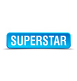 Superstar blue 3d realistic square isolated button vector image vector image