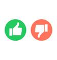 thumbs up and down circle emblems vector image