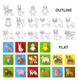 toy animals flat icons in set collection for vector image vector image