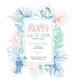 tropical floral summer party poster with pal vector image vector image