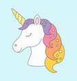 unicorn head sleeping cute in pastel colors with vector image vector image
