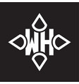 wh logo monogram with four cone rounded vector image vector image