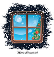 window snowy night Christmas background vector image vector image