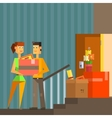 Young Couple Moving Into New Apartement Pixelated vector image
