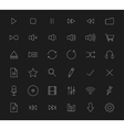 Multimedia white line art digital icons vector image