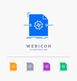 3d document file object processing 5 color glyph vector image