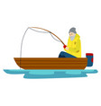 a male fisherman with a bread is fishing on a lake vector image